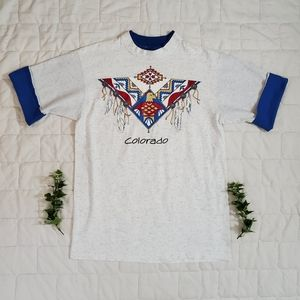 Vintage '91 Colorado Native American Totem Tshirt